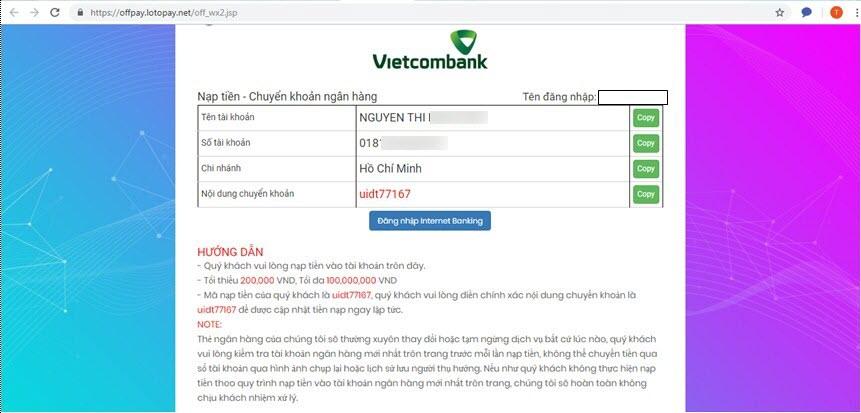 Giao diện nạp tiền qua Ngân hàng Vietcombank
