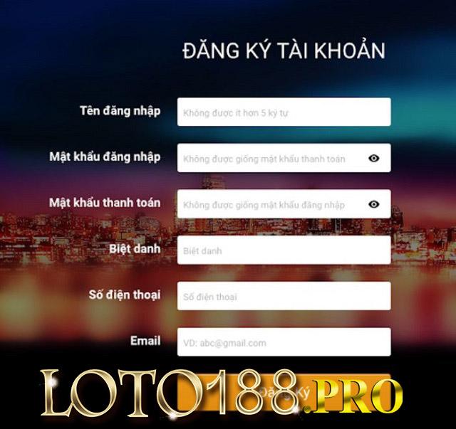 Điền thông tin vào biểu mẫu đăng ký tài khoản Loto788